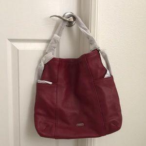 NWOT Coach deep red hobo bag